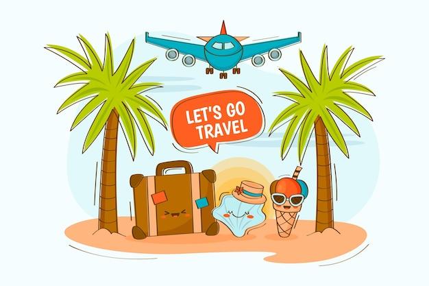 Dibujado a mano ilustración de viajes de verano