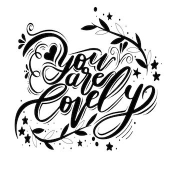Dibujado a mano ilustración vintage con hand-lettering.for tarjeta de felicitación para el día de san valentín o una boda