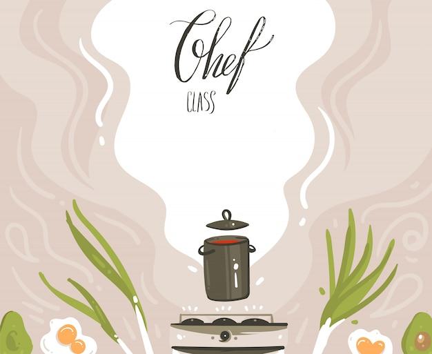Dibujado a mano ilustraciones de clase de cocina de dibujos animados modernos abstractos vectoriales con preparación de escena de comida, sartén, verduras y caligrafía moderna manuscrita de clase chef aislada sobre fondo blanco