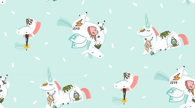Dibujado a mano ilustraciones gráficas abstractas creativas dibujos animados de patrones sin fisuras con unicornios cosmonauta con tatuaje de la vieja escuela y pegaso en cosmos aislado sobre fondo azul