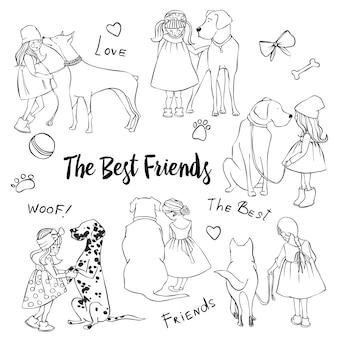 Dibujado a mano ilustraciones vectoriales de perros y niñas. los mejores amigos. perros y niños bosquejo