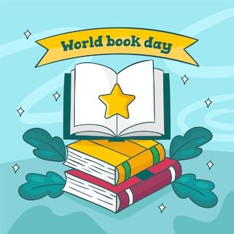 Dibujado a mano ilustrado día mundial del libro