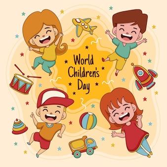 Dibujado a mano ilustrado día mundial del niño.