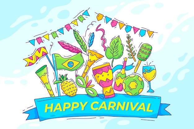 Dibujado a mano ilustrado elementos de carnaval brasileño