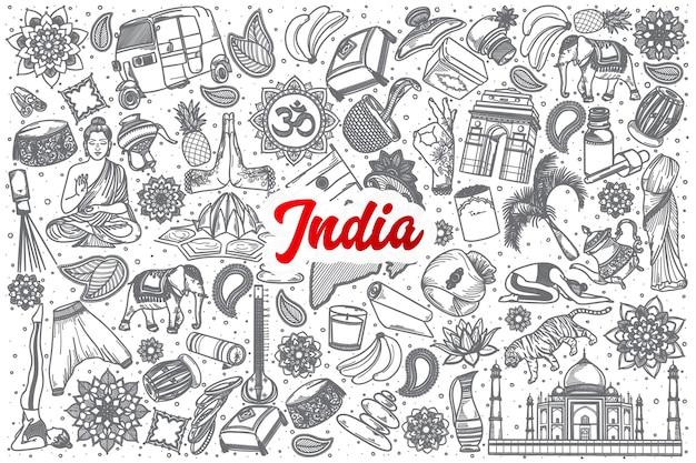 Dibujado a mano india doodle establece fondo con letras rojas