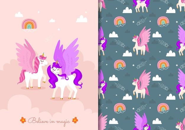 Dibujado a mano infantil de patrones sin fisuras con lindos unicornios en el cielo