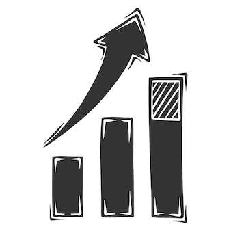 Dibujado a mano de infografías de crecimiento con flecha, aislado sobre fondo blanco.