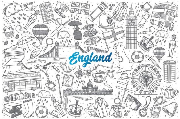 Dibujado a mano inglaterra doodle establece fondo con letras azules