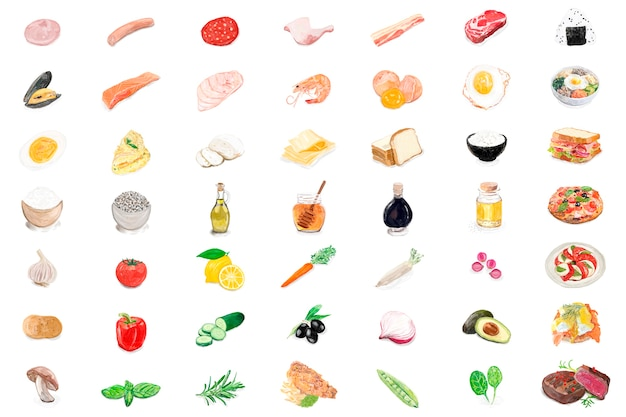 Dibujado a mano los ingredientes de alimentos estilo acuarela