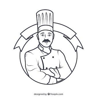 Dibujado a mano insignia cocinero