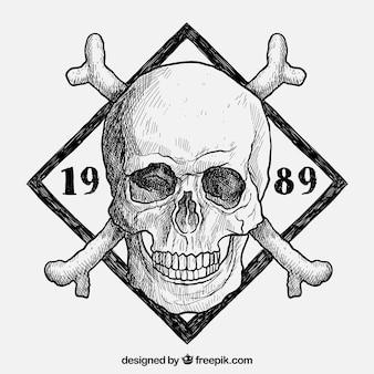 Dibujado a mano insignia del cráneo