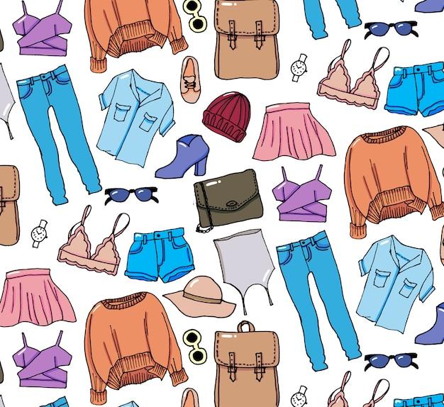 Dibujado a mano invierno conjunto de ropa de punto