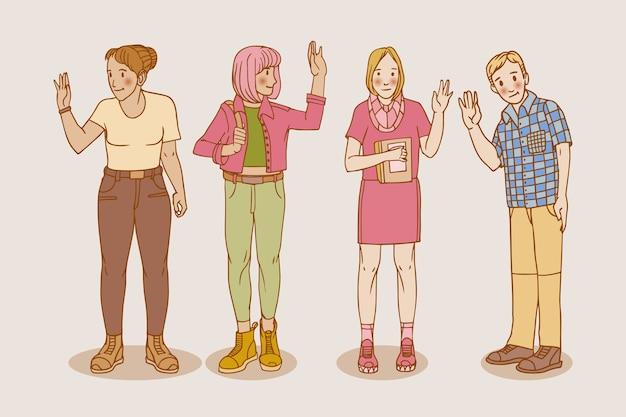 Dibujado a mano jóvenes agitando colección de mano