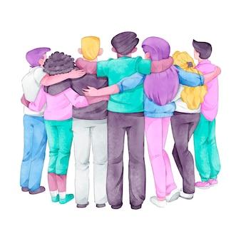 Dibujado a mano jóvenes día personas abrazándose juntos