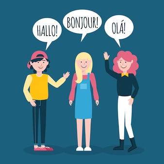 Dibujado a mano jóvenes hablando en diferentes idiomas colección