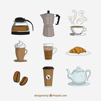 Dibujado a mano juego de café