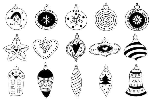 Dibujado a mano juguetes de bolas de navidad y copos de nieve