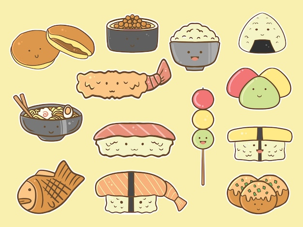 Dibujado a mano kawaii comida japonesa set colección premium
