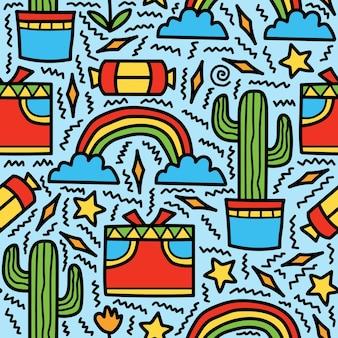 Dibujado a mano kawaii dibujos animados doodle diseño de patrón abstracto