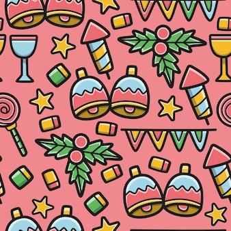 Dibujado a mano kawaii doodle dibujos animados patrón de navidad diseño ilustración