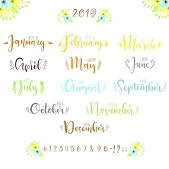 Dibujado a mano letras conjunto de palabras de meses del año