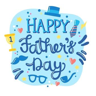 Dibujado a mano letras del día del padre