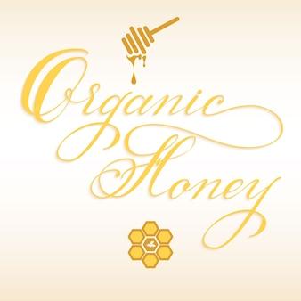 Dibujado a mano letras miel orgánica con cucharón de miel