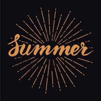 Dibujado a mano letras de verano vintage con rayos de sol