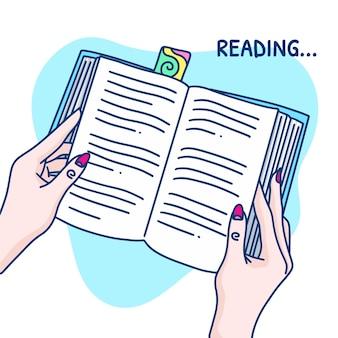 Dibujado a mano leyendo un concepto de libro con manos de mujer