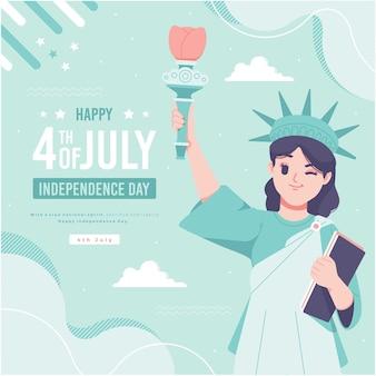 Dibujado a mano liberty lady character fondo de ilustración del día de la independencia de estados unidos