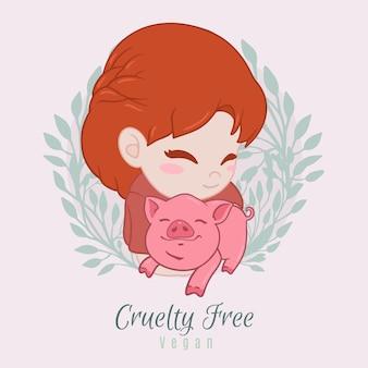 Dibujado a mano libre de crueldad y concepto vegano ilustrado