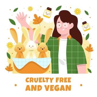 Dibujado a mano libre de crueldad y vegano.