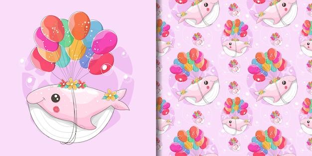 Dibujado a mano una linda ballena volando con globos