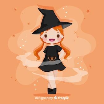 Dibujado a mano linda bruja de halloween