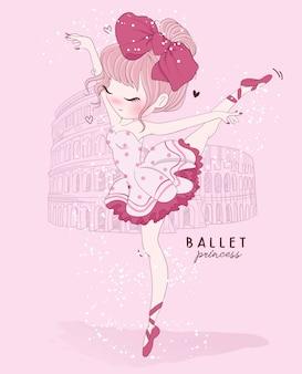 Dibujado a mano linda chica ballet dance con escena de roma