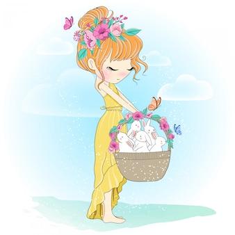 Dibujado a mano linda chica con conejo