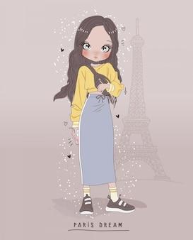 Dibujado a mano linda chica con fondo