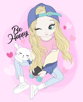 Dibujado a mano linda chica con gato