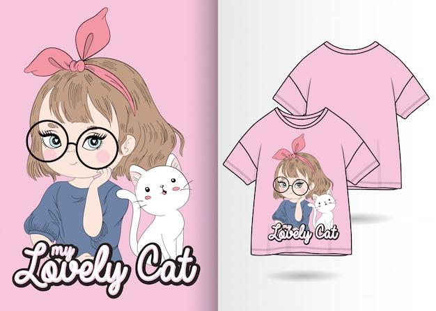 Dibujado a mano linda chica con ilustración de gatito con diseño de camiseta