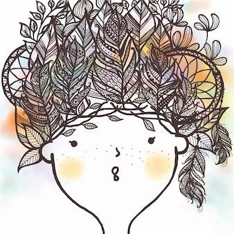 Dibujado a mano linda chica con plumas
