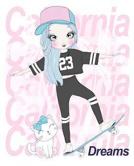 Dibujado a mano linda chica skate