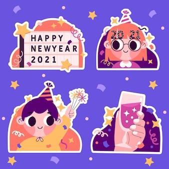 Dibujado a mano linda colección de año nuevo