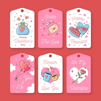 Dibujado a mano linda colección de etiquetas / insignias de san valentín