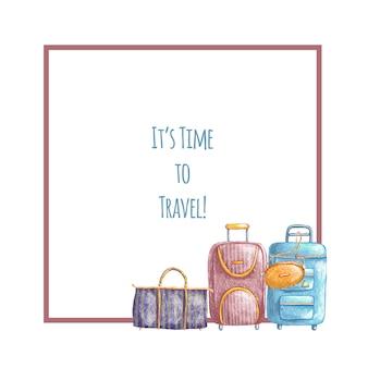 Dibujado a mano linda frontera de viaje con bolsas