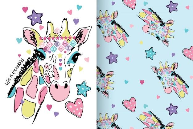 Dibujado a mano linda jirafa con patrón establecido