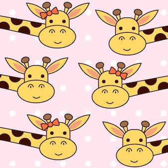 Dibujado a mano linda jirafa con patrón