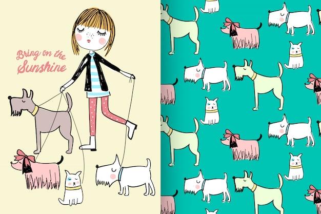 Dibujado a mano linda niña y perros con patrón vector set