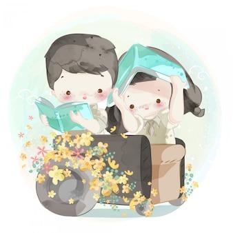 Dibujado a mano linda pareja