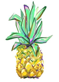 Dibujado a mano linda piña tropical