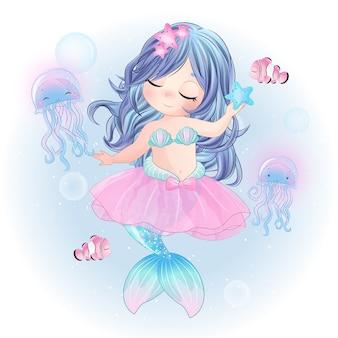 Dibujado a mano linda sirena bailarina